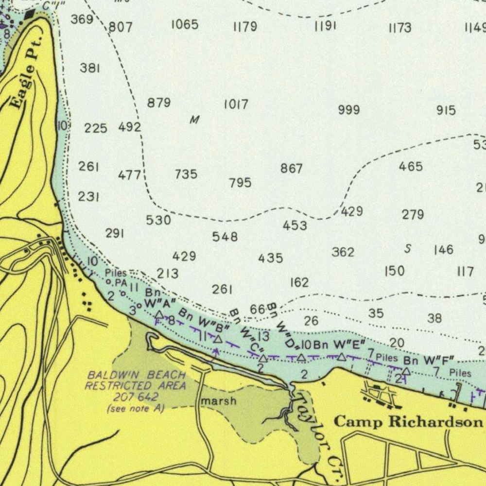 NOAA depth chart for Baldwin Beach
