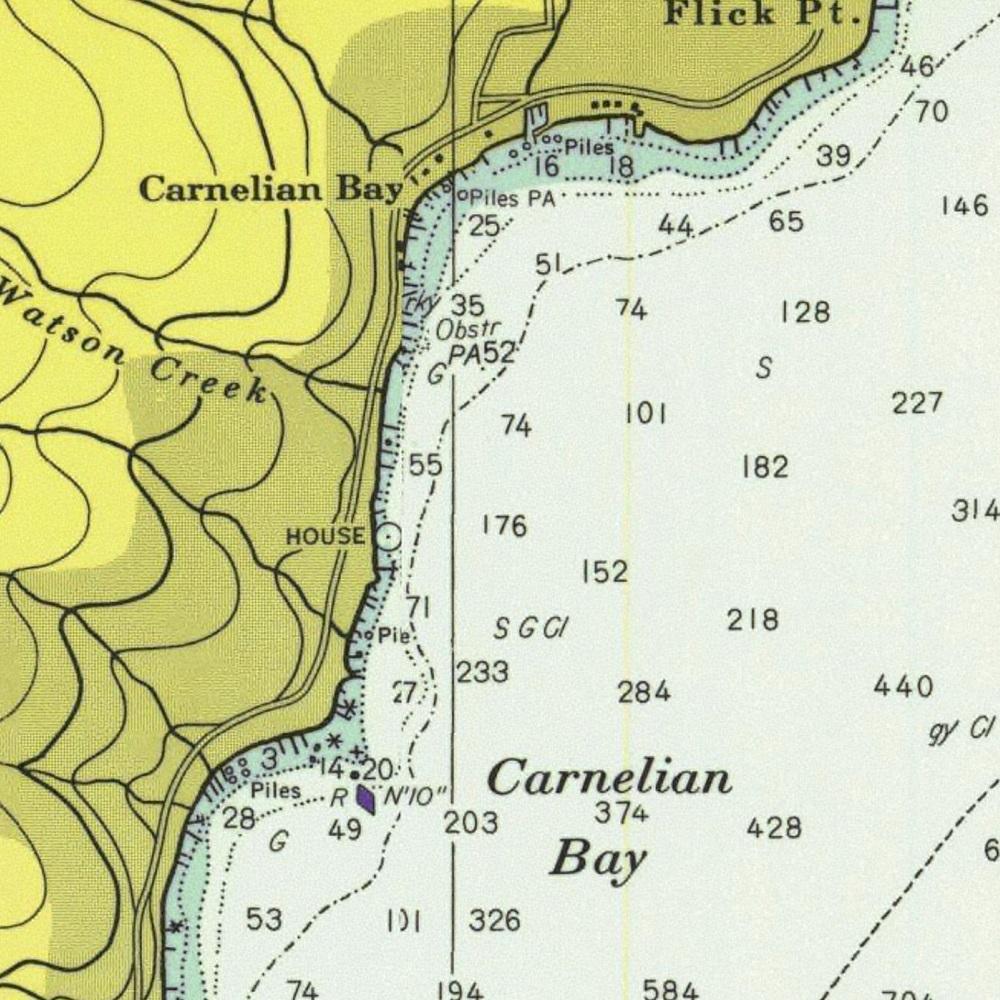 NOAA depth chart for Carnelian Bay