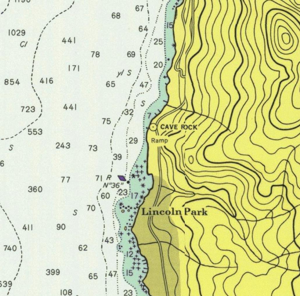 NOAA depth chart of Cave Rock area