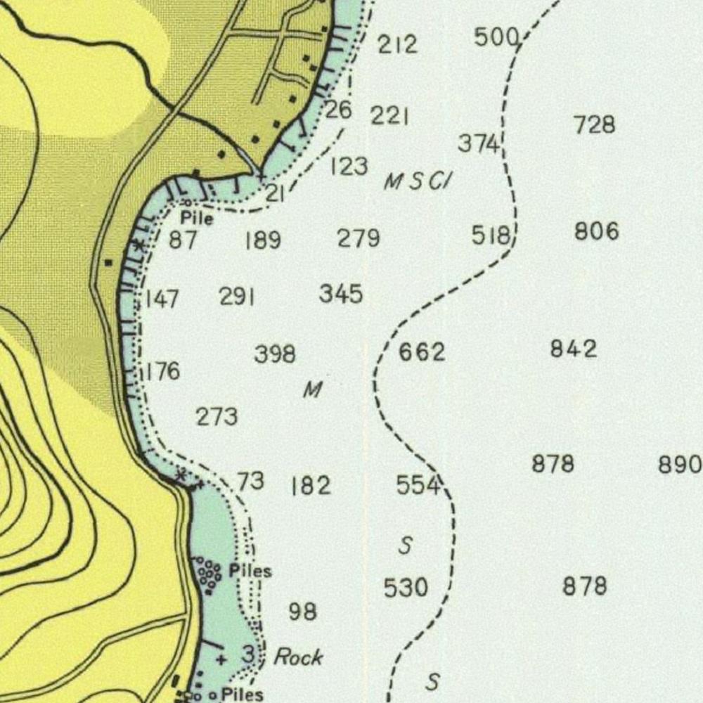 NOAA depth chart of Hurricane Bay